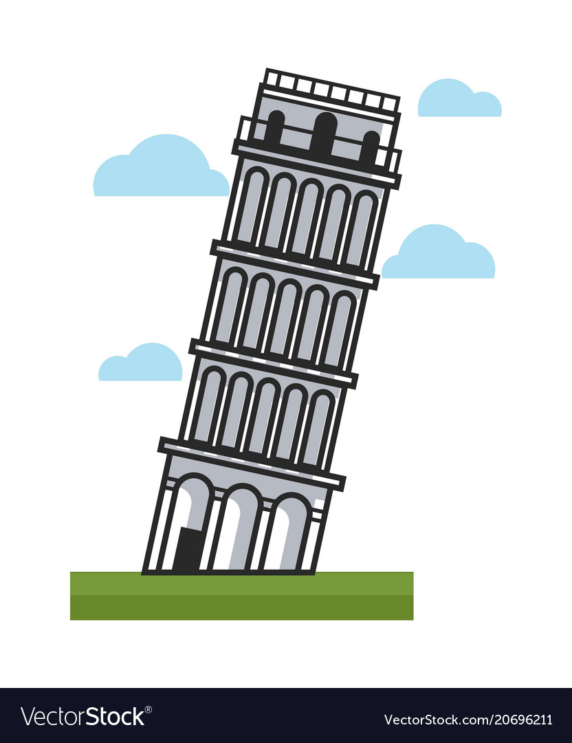 Famous inclined pisa tower as main attraction of