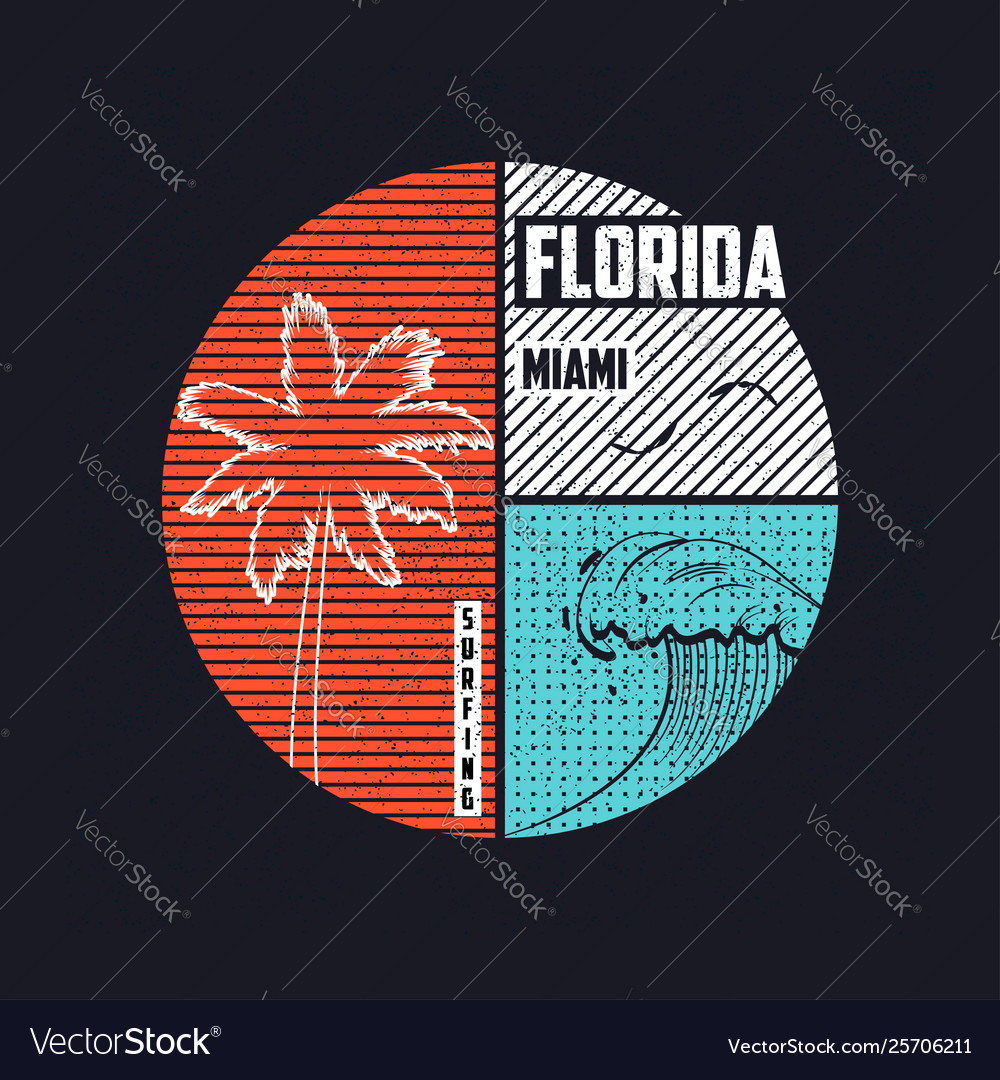 Miami florida t-shirt trendy design with wave and