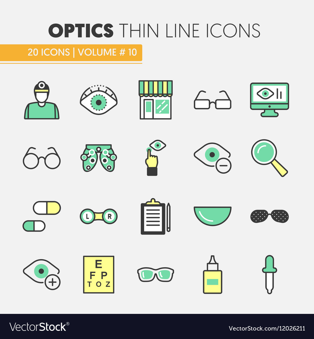 Optician Thin Line Icons Set with Optometry