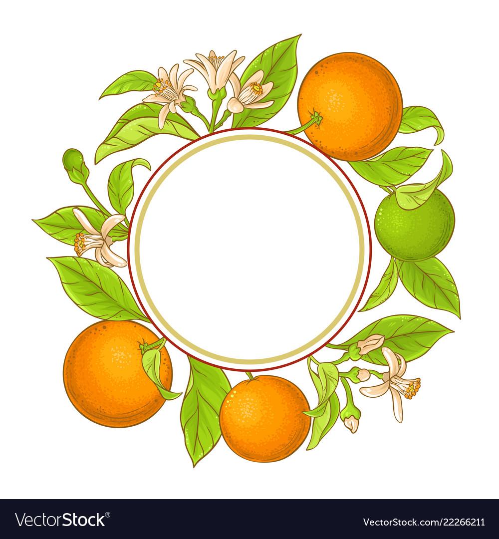 Orange Branch Frame Royalty Free Vector Image Vectorstock
