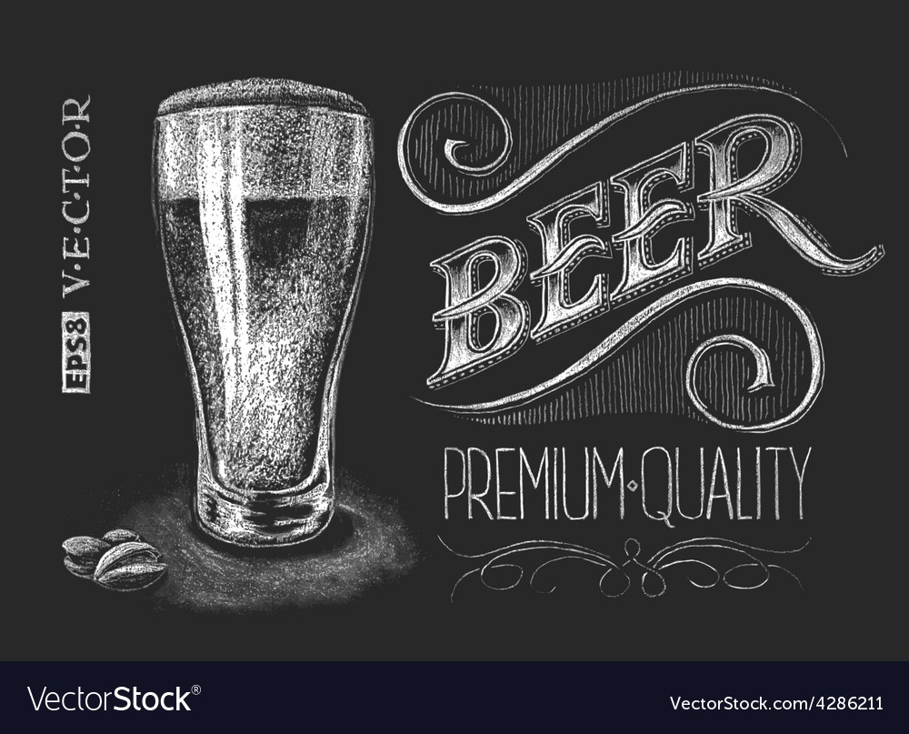 Poster of beer on the chalkboard vector image
