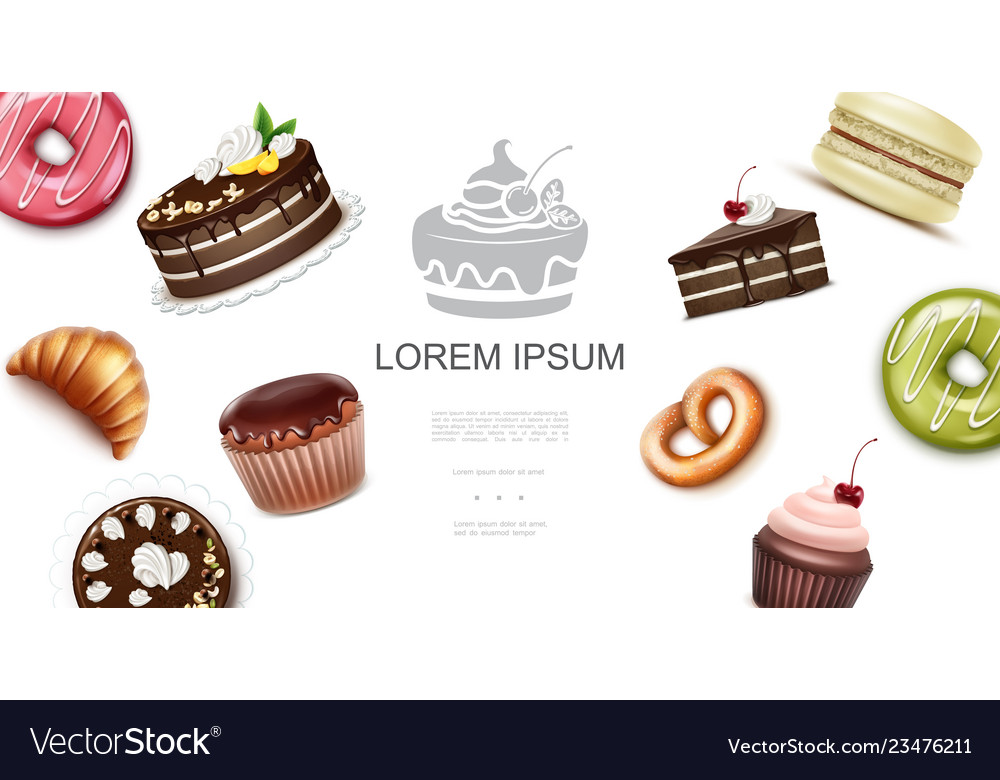 Realistic sweet and baking products template