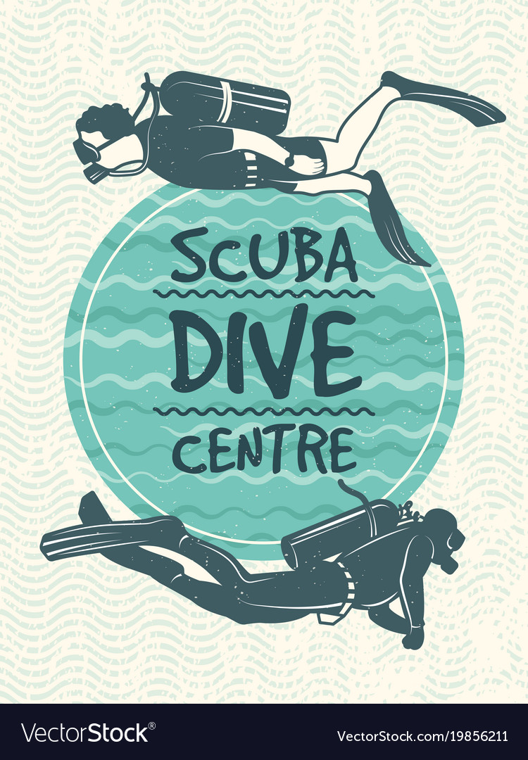 Retro poster for sport club of diving