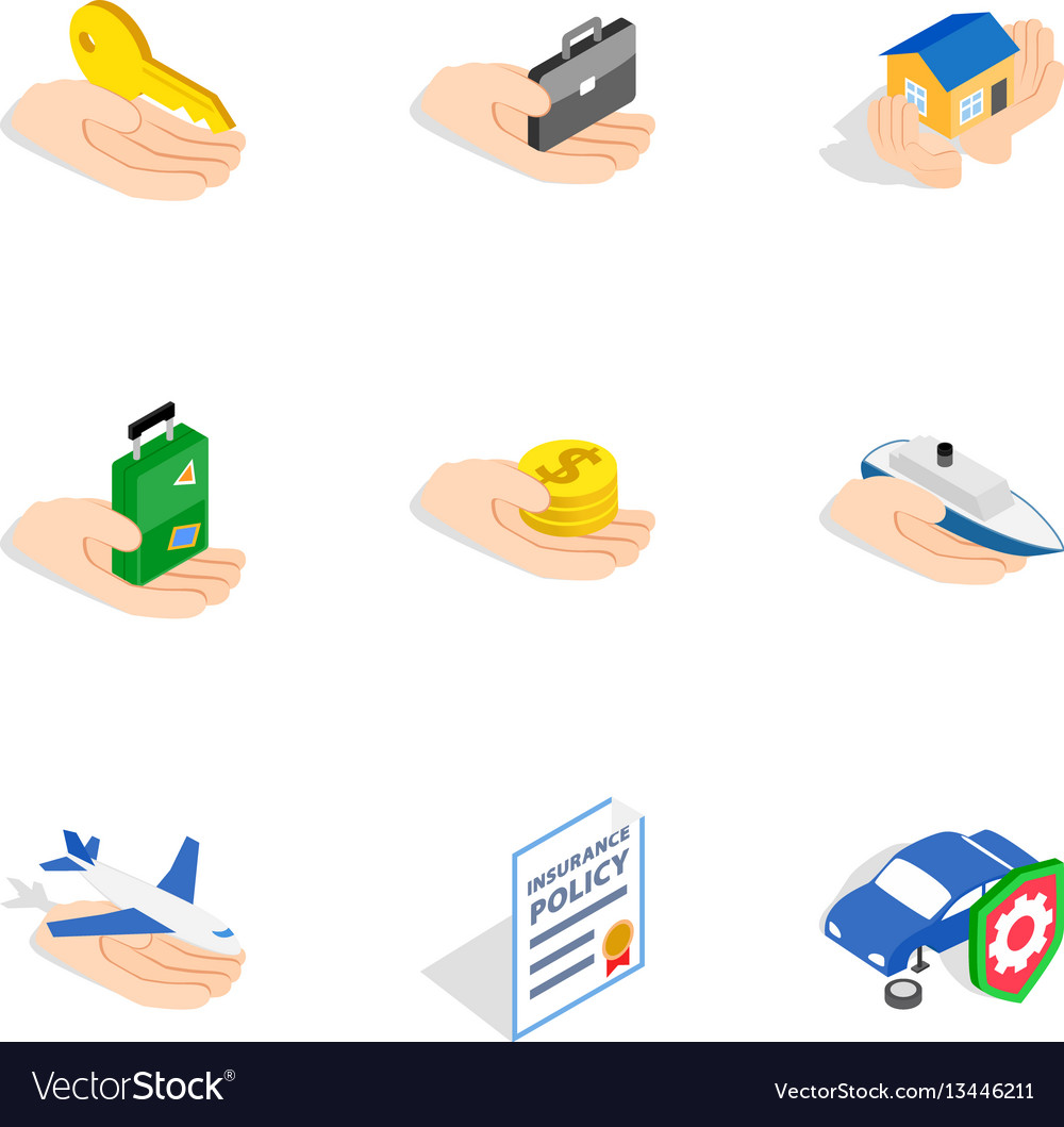 Risk icons isometric 3d style