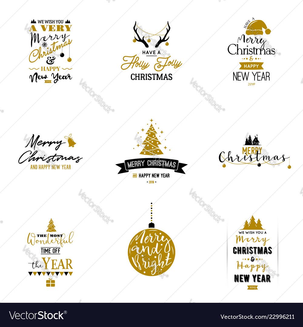 set of merry christmas and happy new year card vector image