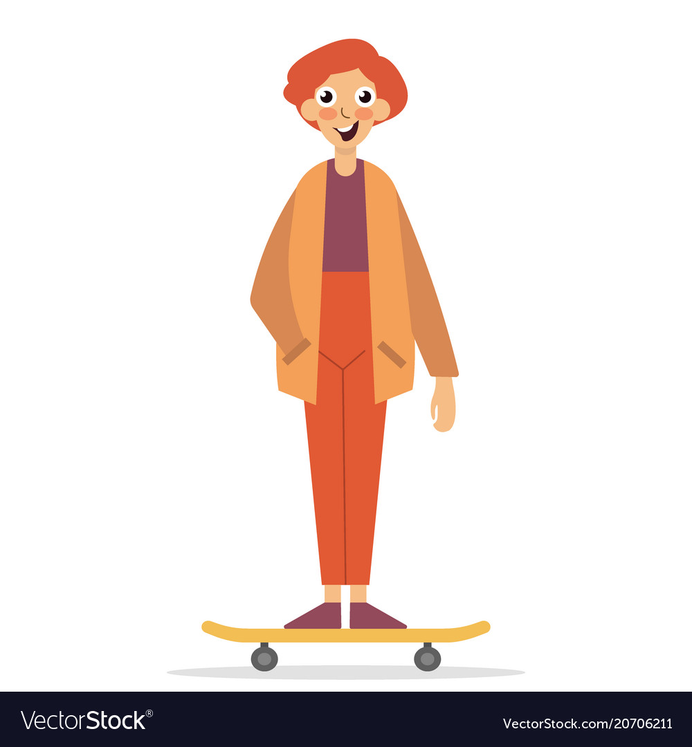 Skateboarder standing on a skateboard happy young