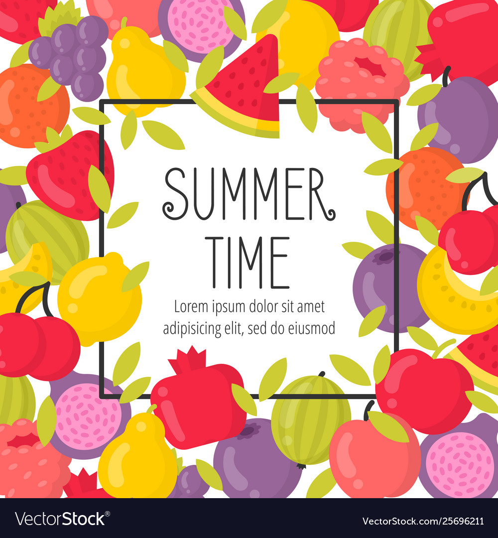 Summer poster with bright fruits and lettering