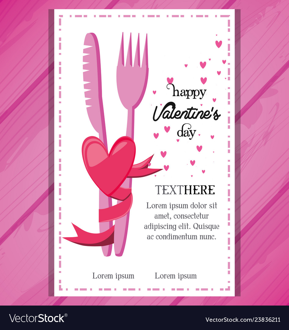 Valentines day card with dinner invitation Vector Image
