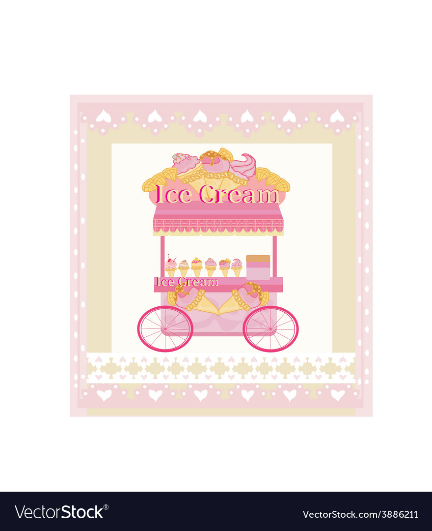 Vendor ice cream mobile booth abstract card vector image