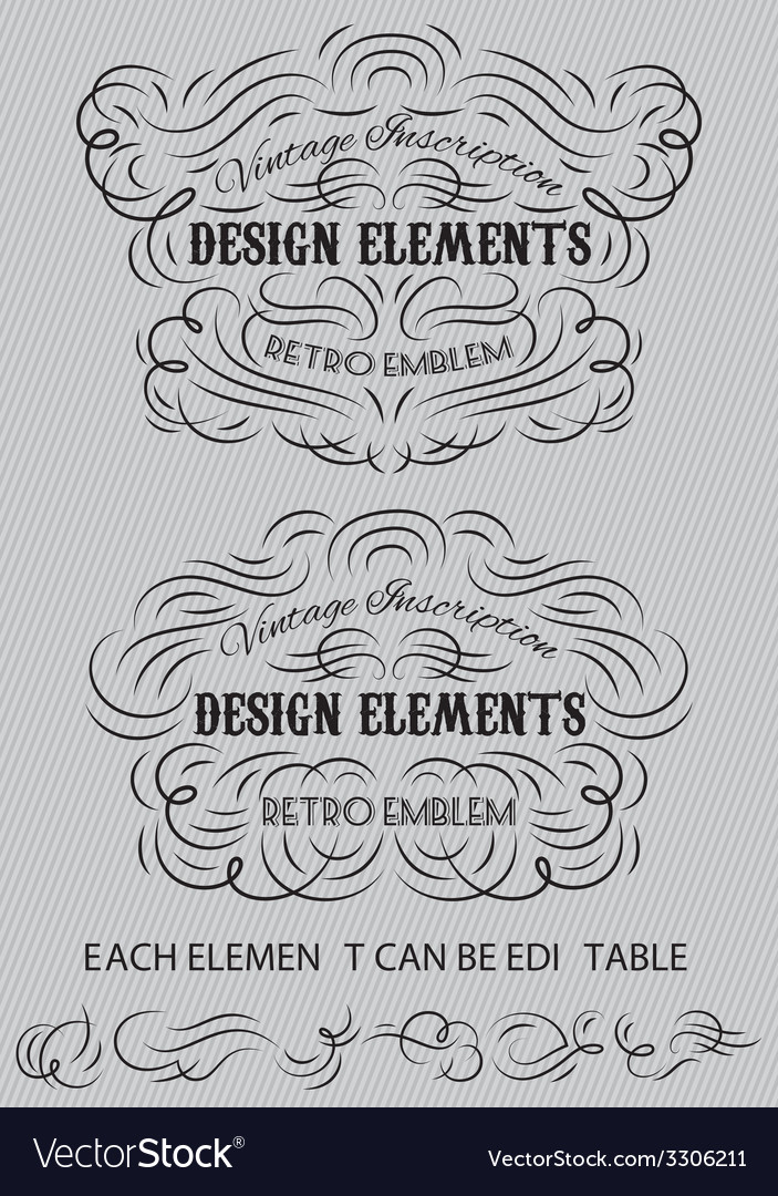 Vintage calligraphic elements of templates