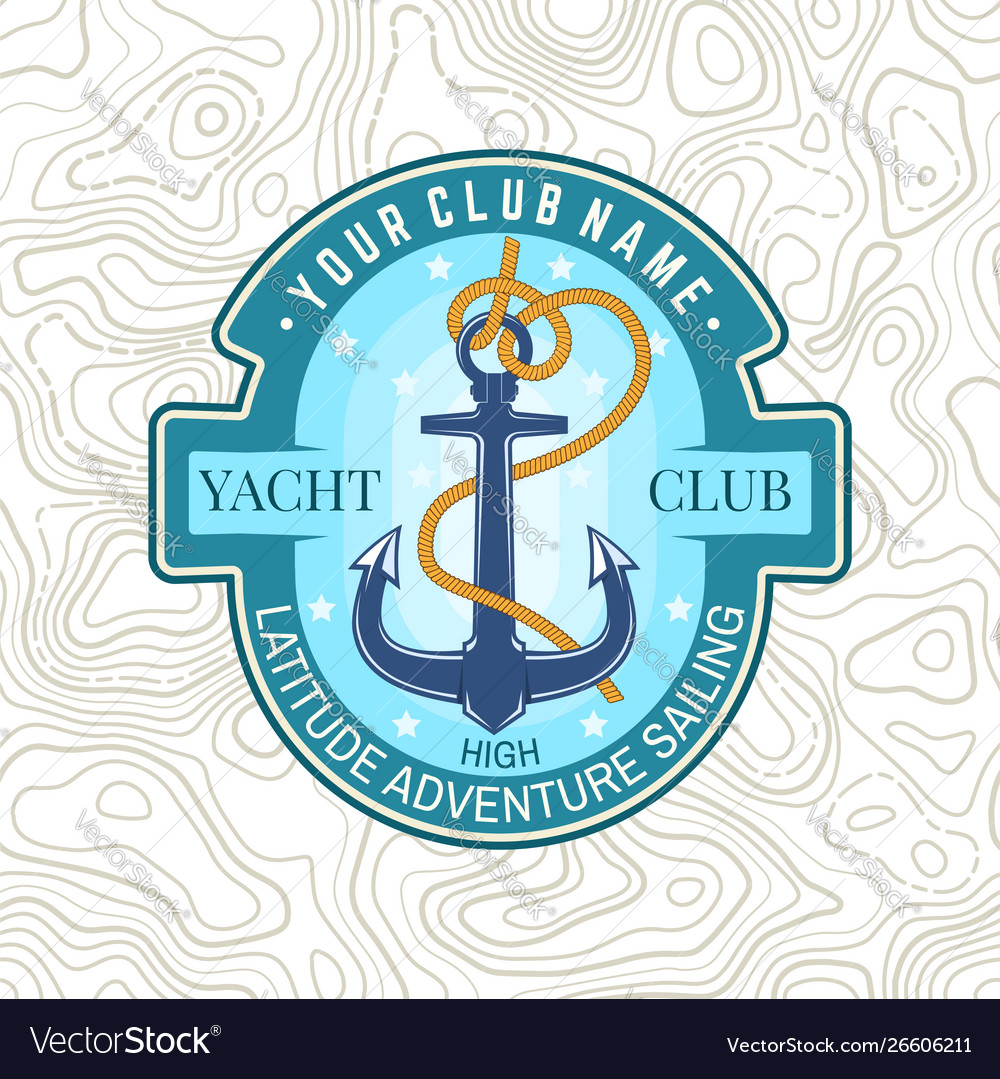 Yacht club patch concept for shirt print