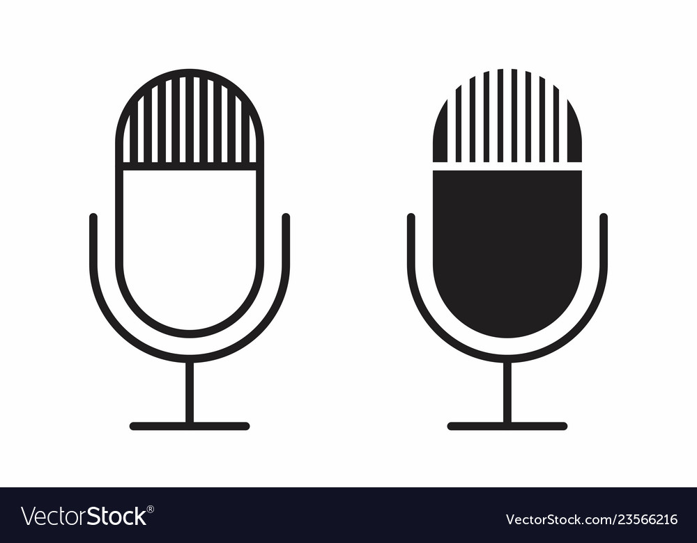 Black and white microphones icons