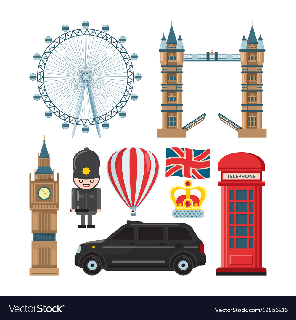 Collection set of london landmarks