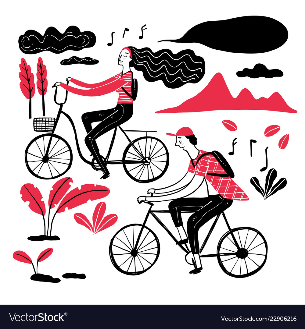 Couple cycling in the park collection of hand