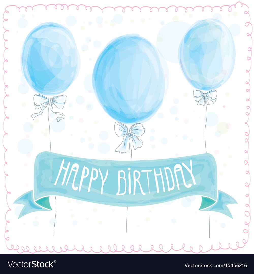 Happy Birthday Greeting Card Balloons Vector Image