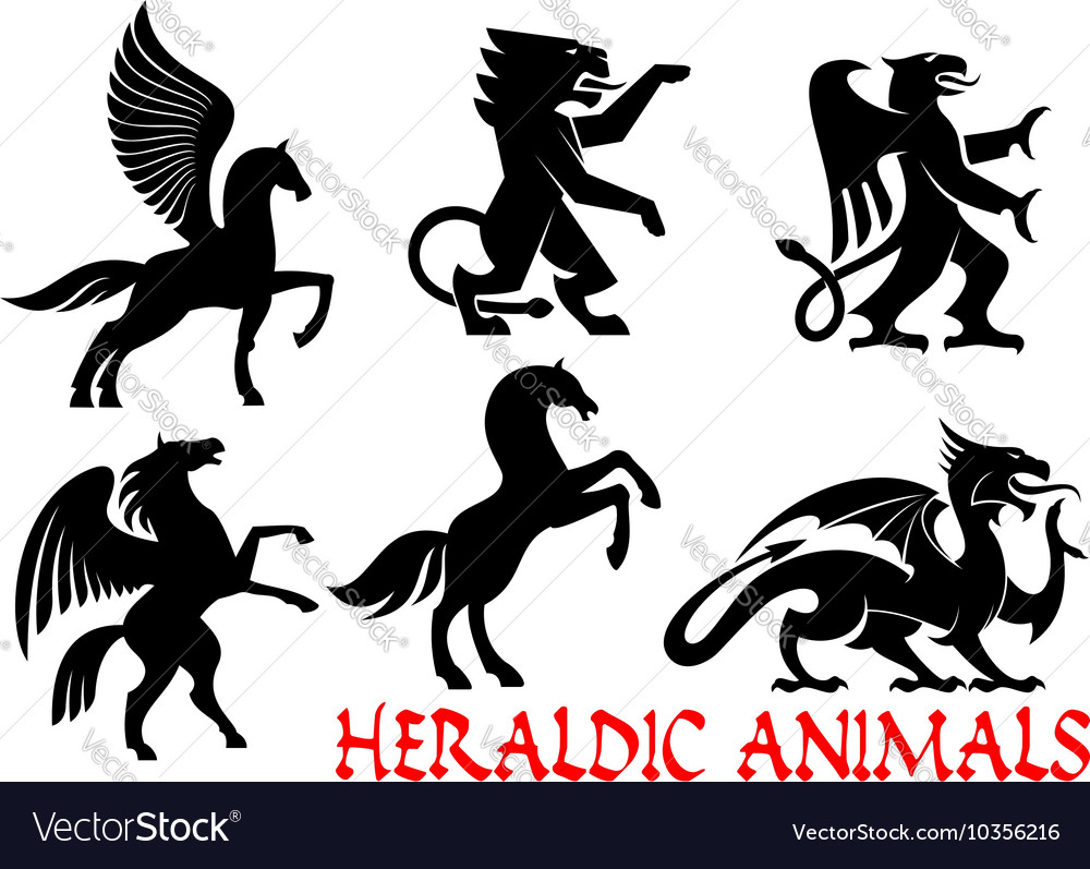 Heraldic mythical animals icons