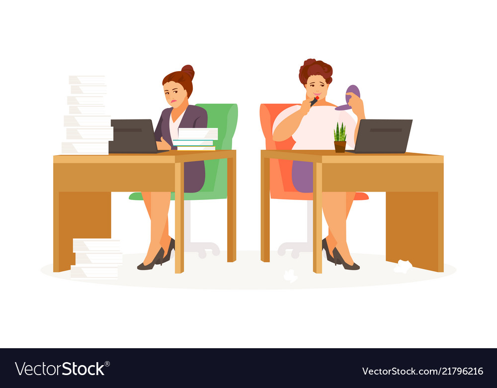 lazy and hardworking woman royalty free vector image