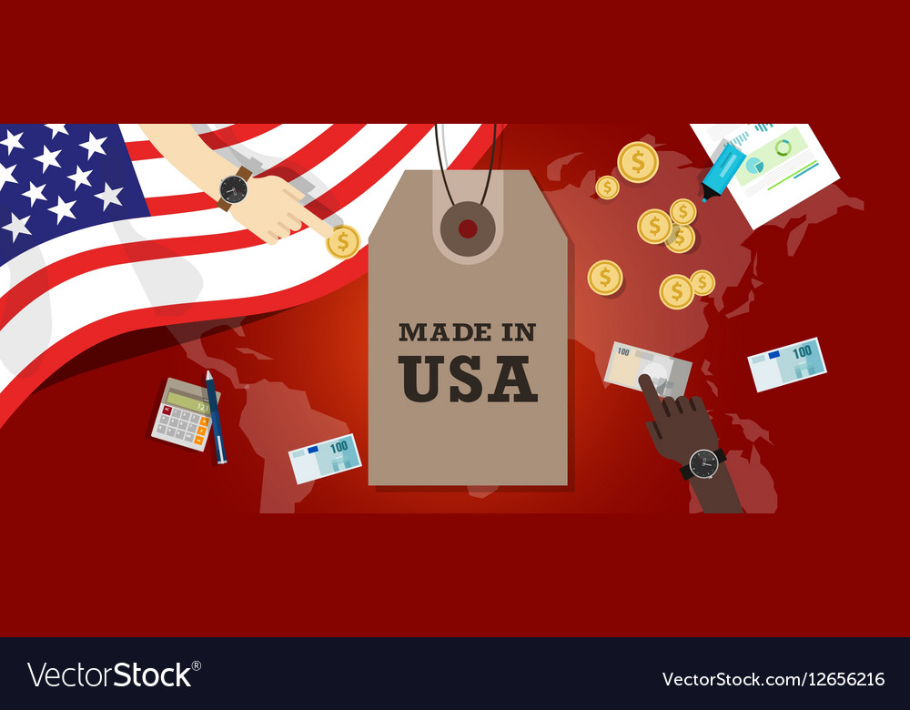 Made in usa emblem written on a label tag vector