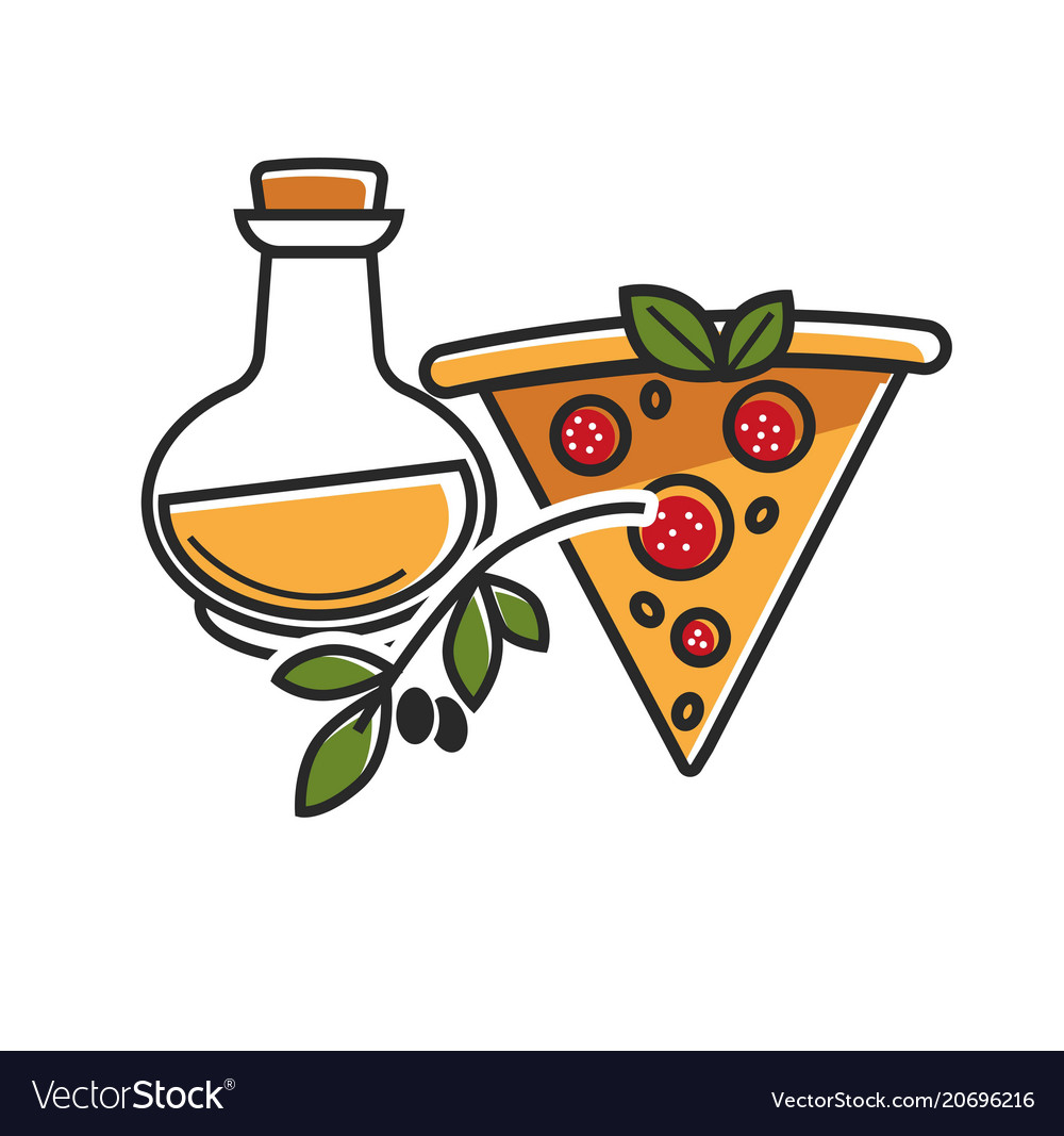 Olive oil of high quality and delicious pizza from