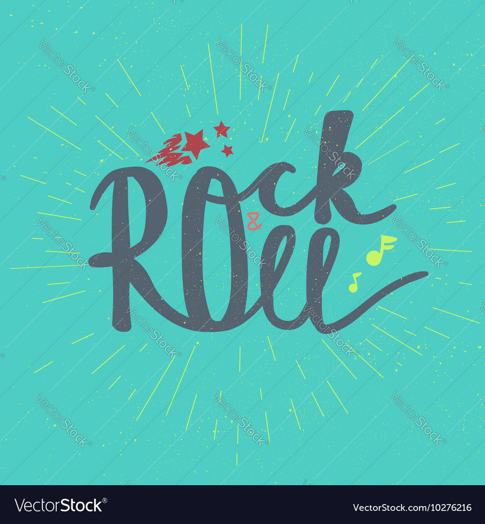 Rock and Roll Lettering vector image