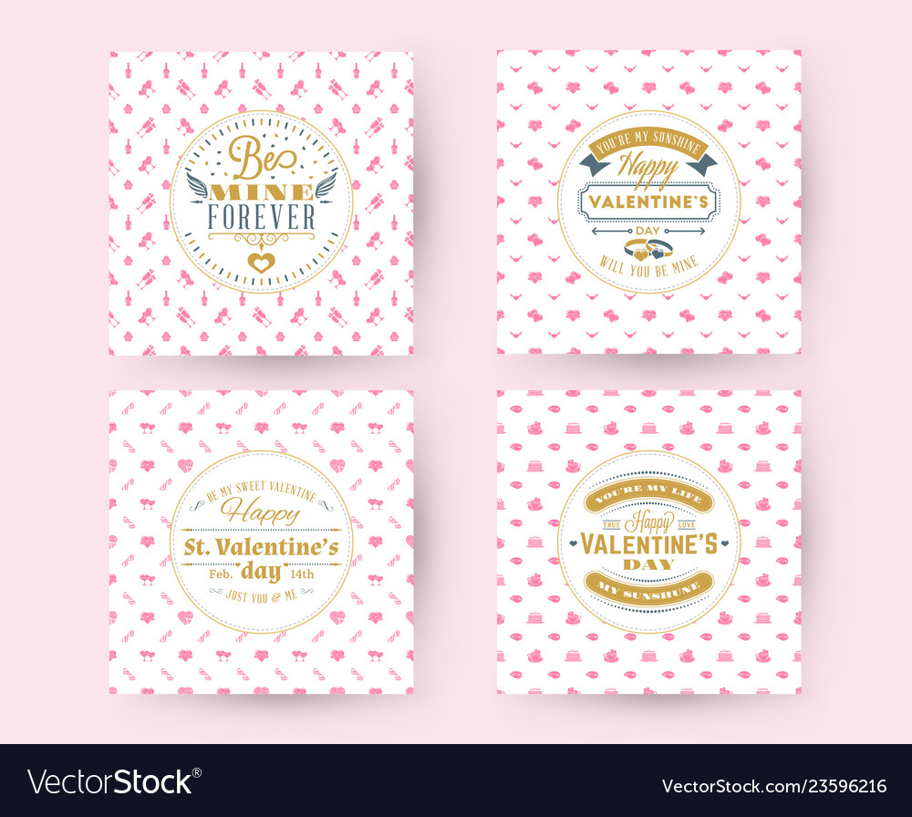 Set of happy valentines day typography greeting