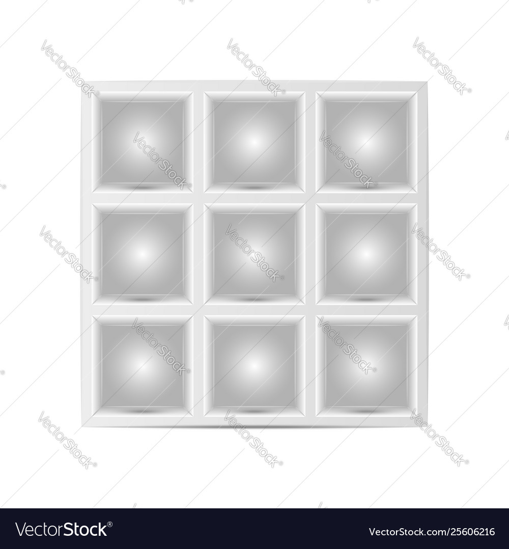 Showcase with squares cells for goods mockup