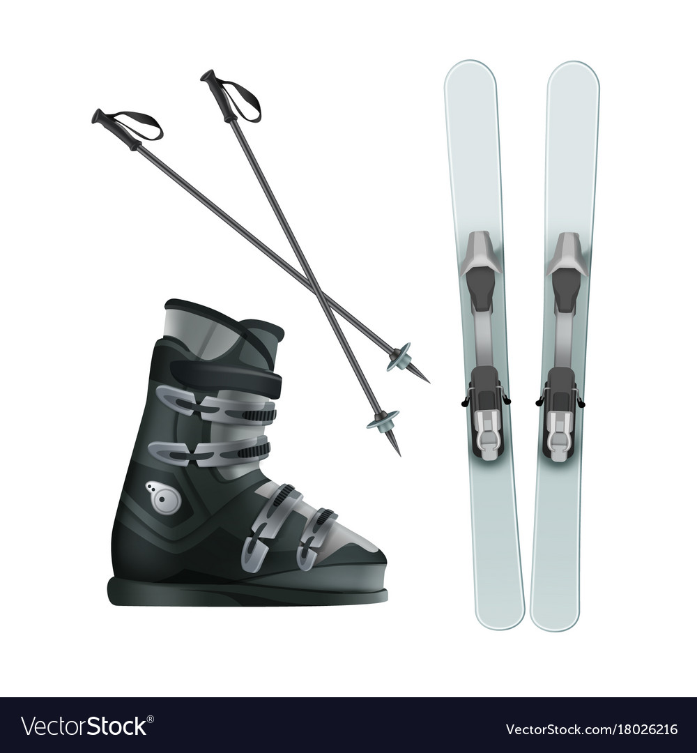 Skis boots and sticks