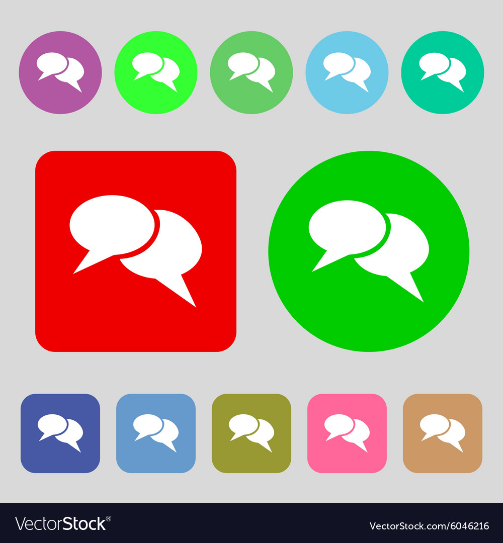 Speech bubble icons Think cloud symbols 12 colored