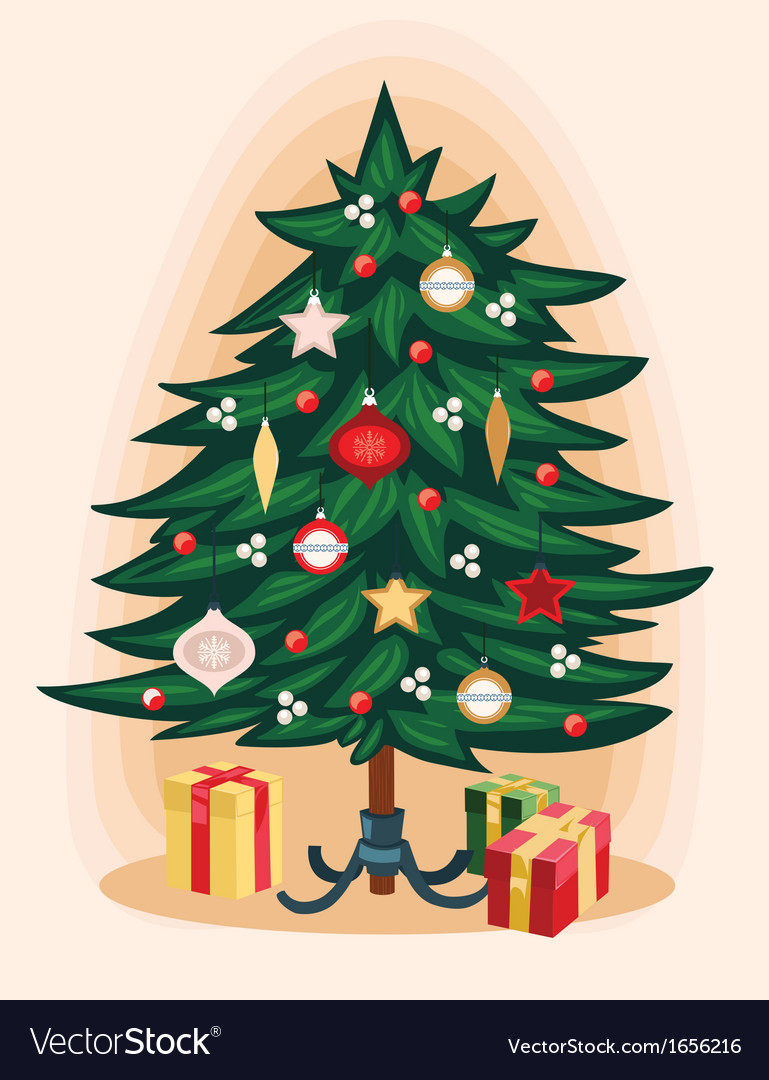 Traditional Christmas tree Cartoon