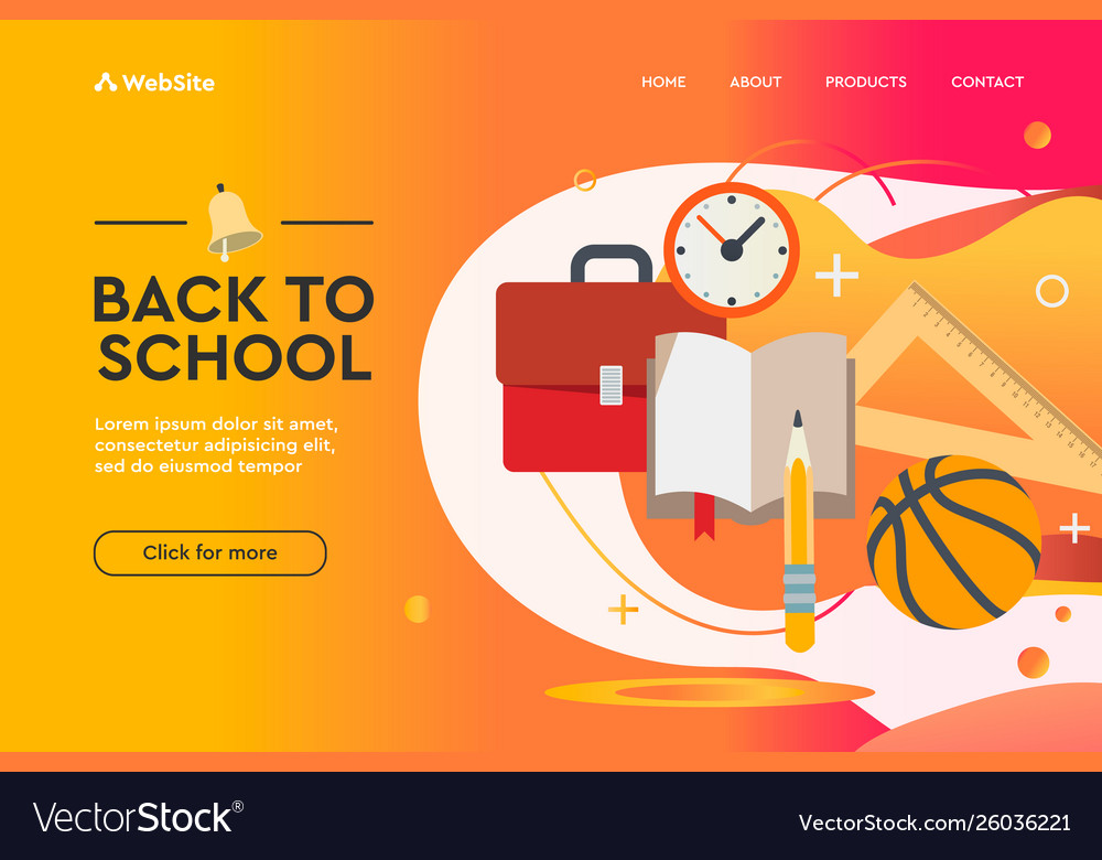 Back to school concept web design landing page