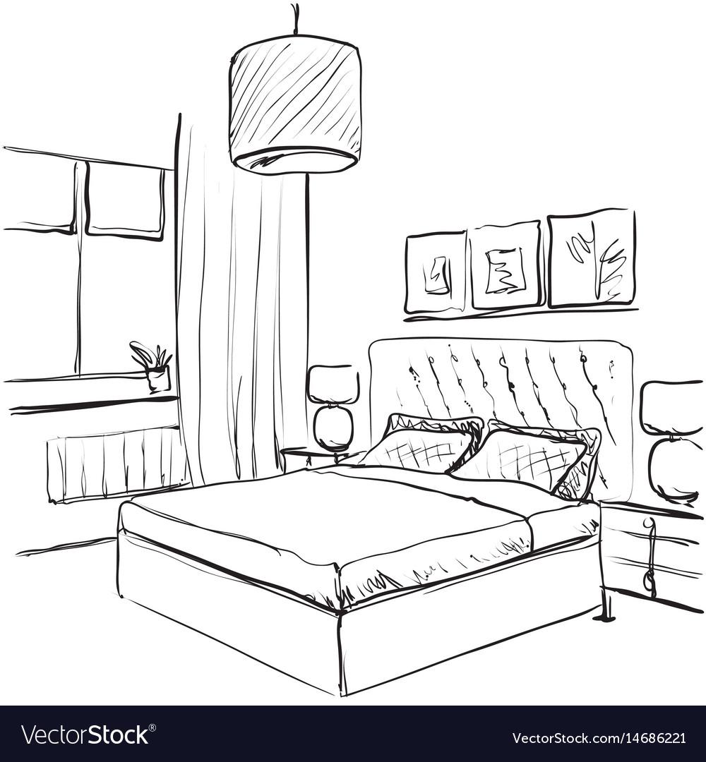 Bedroom interior sketch hand drawn furniture