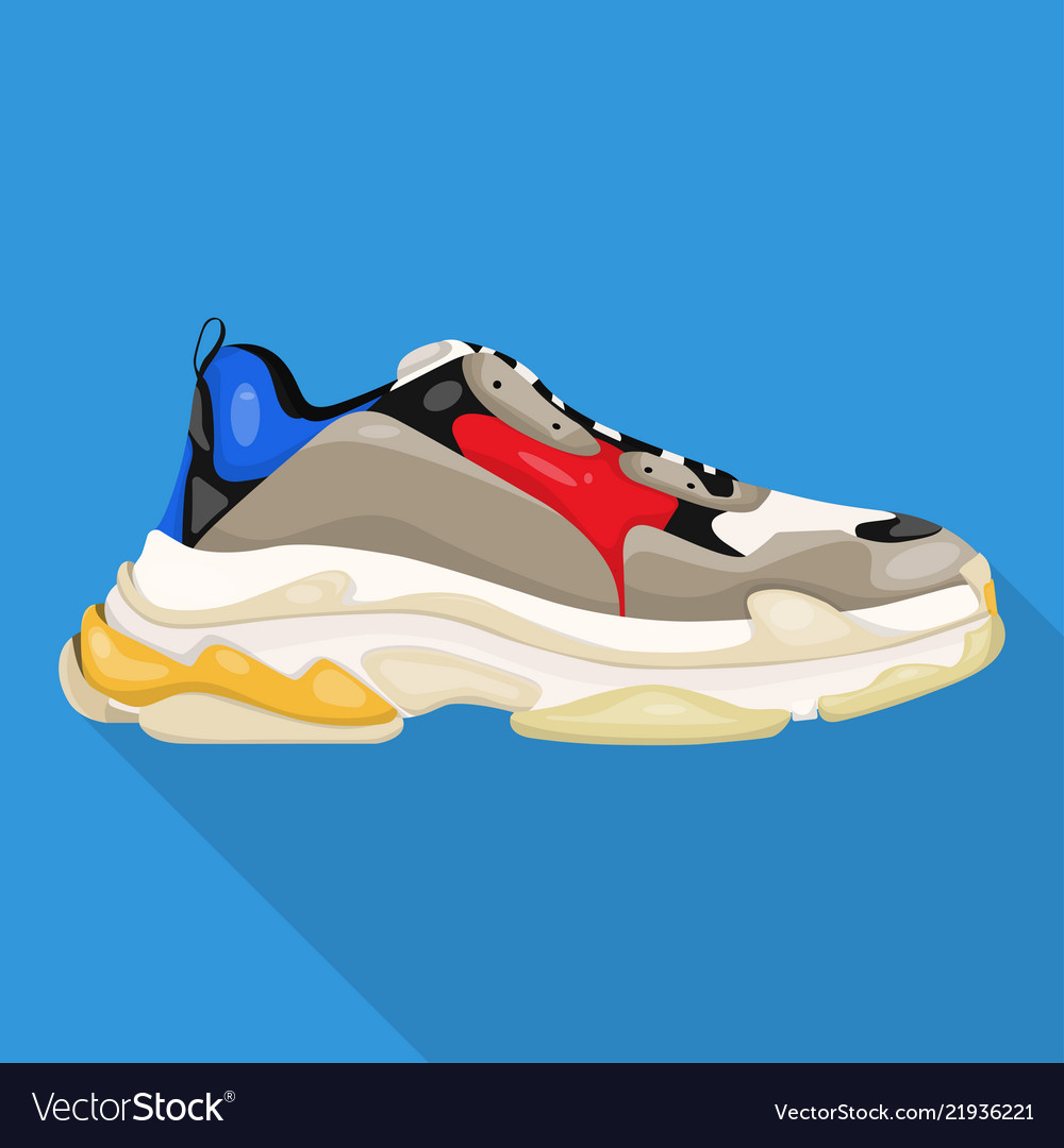 Big sneakers modern woman shoes flat icon