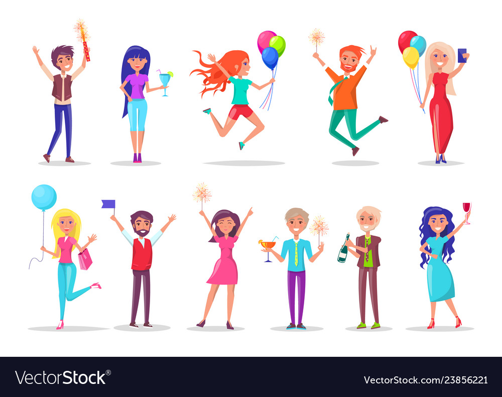 Birthday Celebration Girls And Guys With Balloons Vector Image