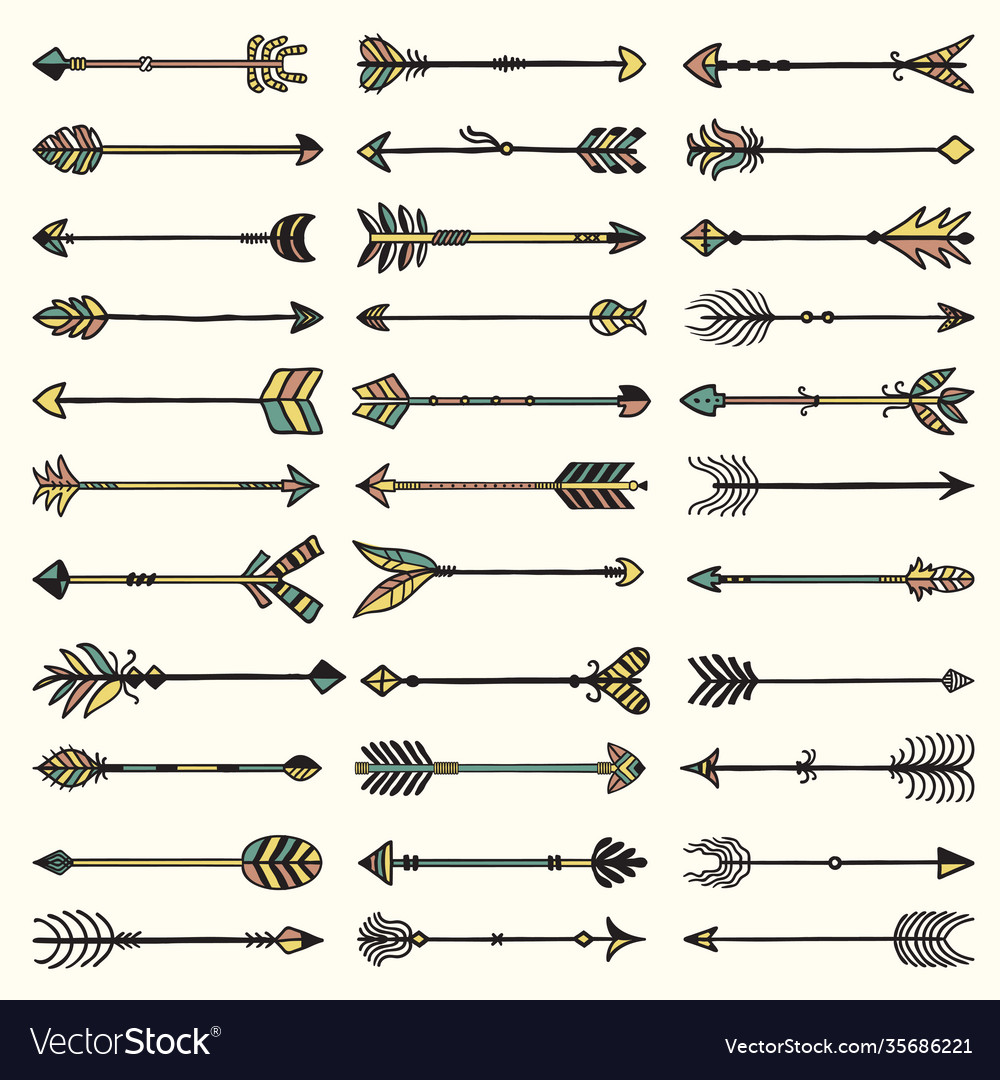 Boho arrows collection ethnic authentic feathers