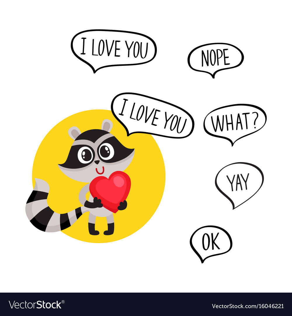 Cute raccoon character holding big heart saying i vector image
