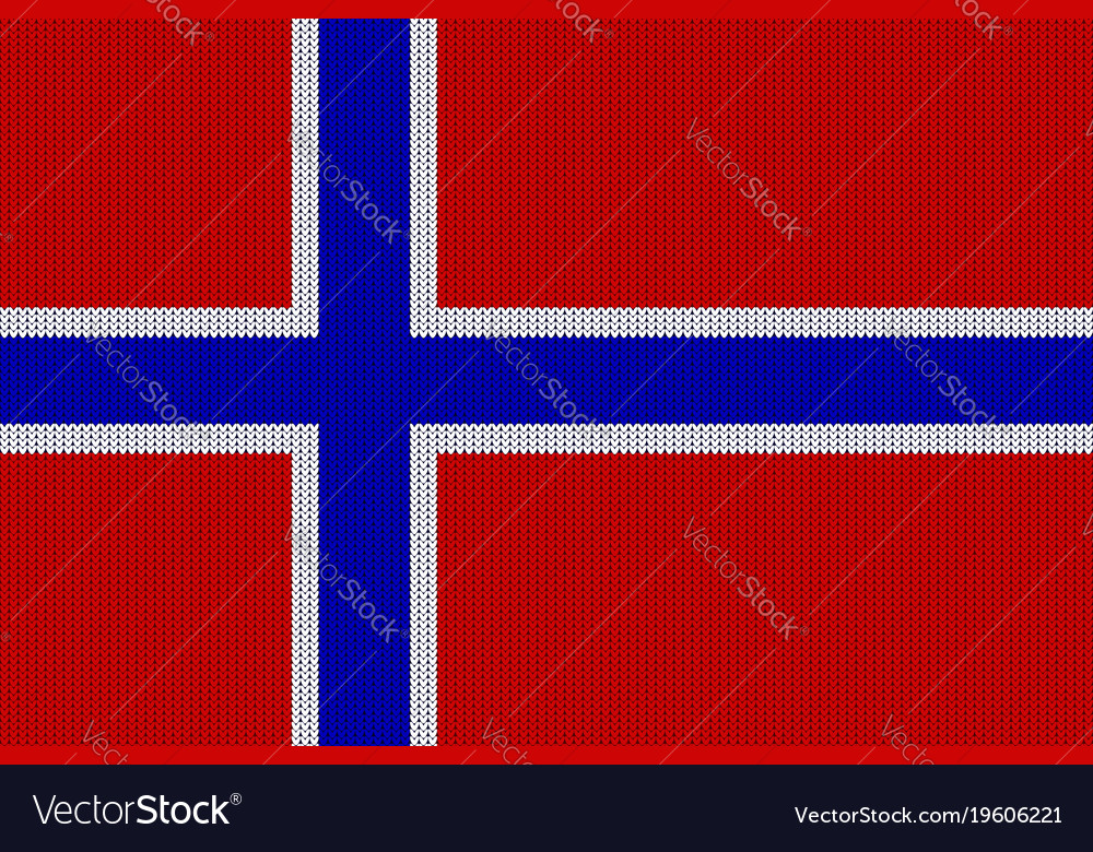 Flag of norway on knitted woolen texture vector image