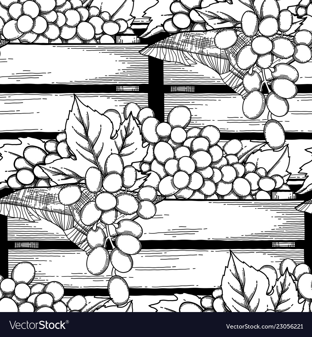 Graphic wooden boxes of grapes decorated with