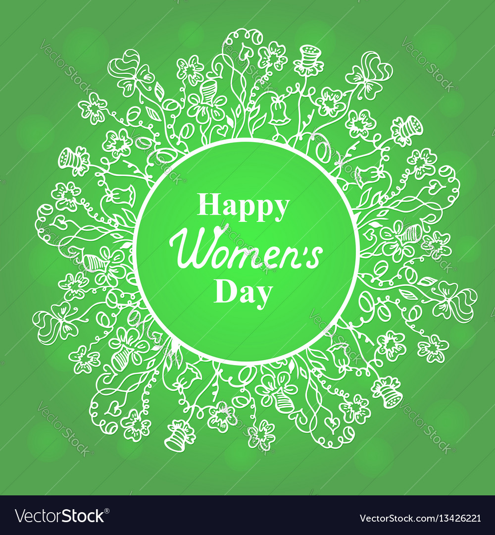 Happy womens day flower and herbage frame