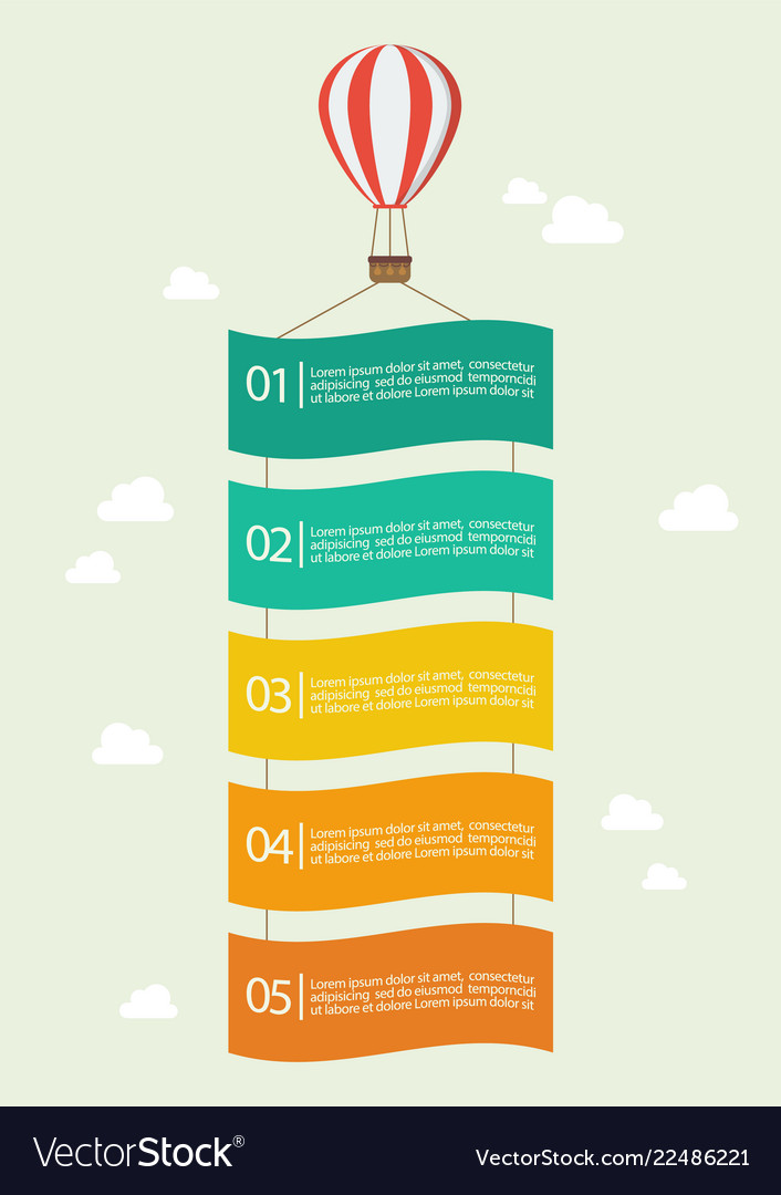 Hot air balloon with banner infographic