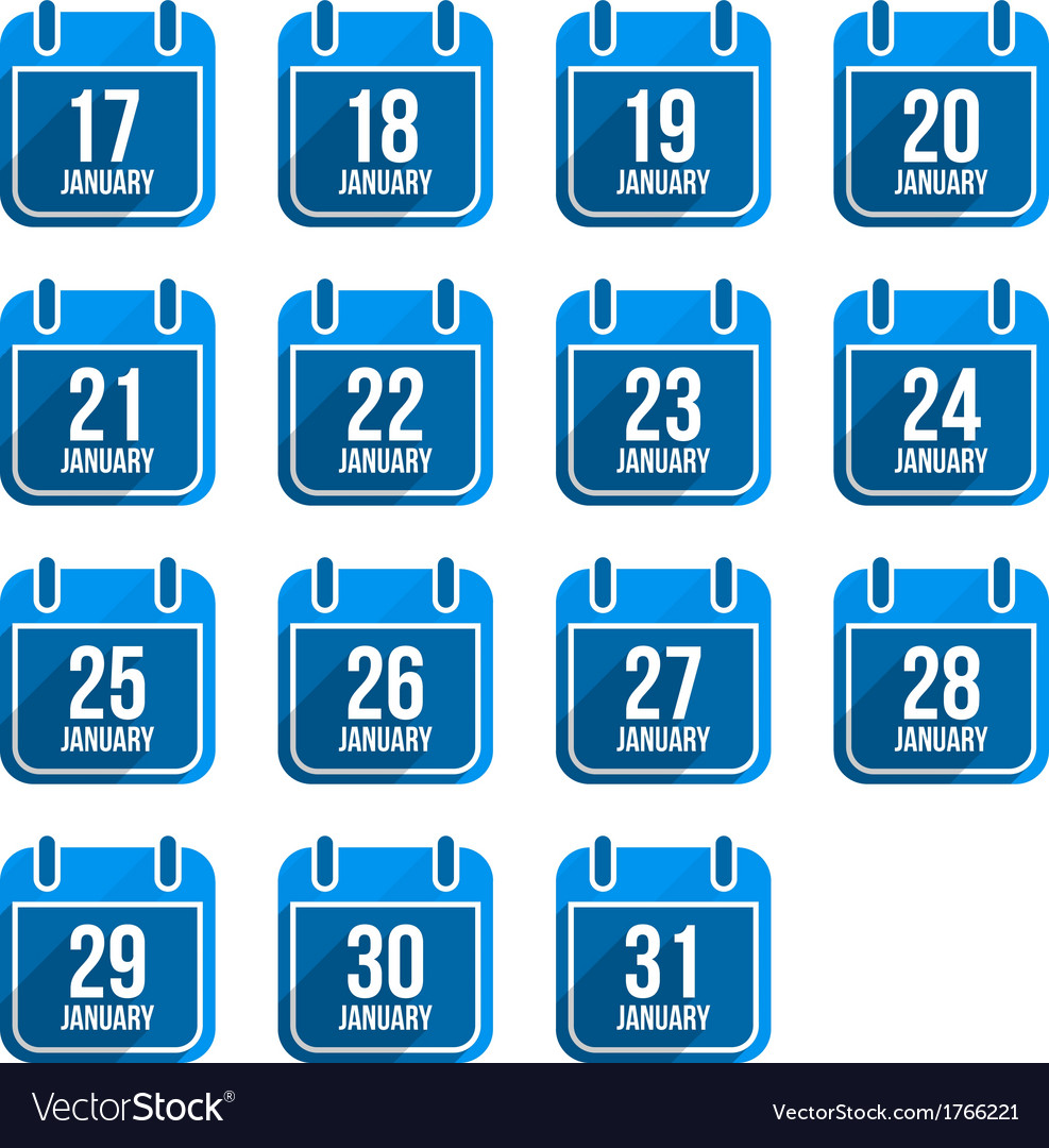 January flat calendar icons with long shadow