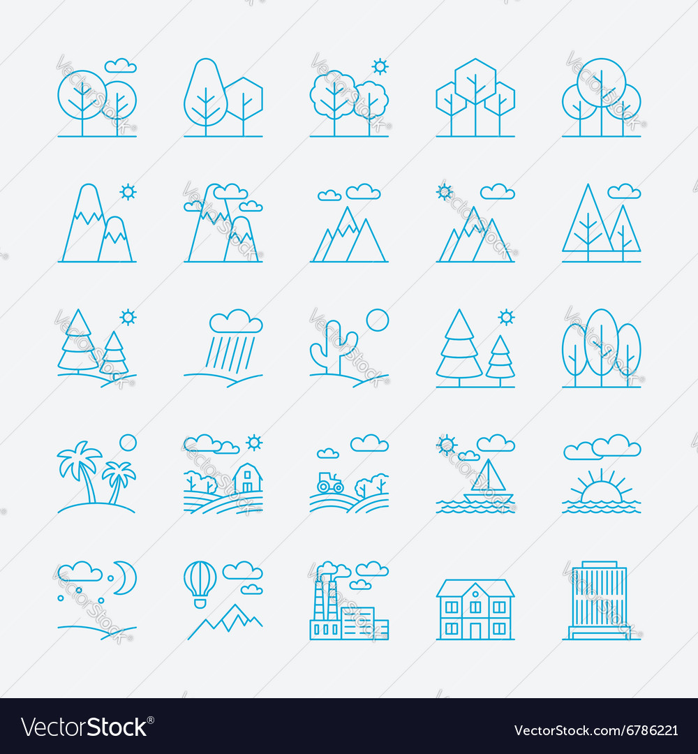 Landscape icons thin line style flat design