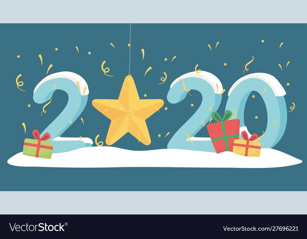 New year 2020 greeting card gold star confetti