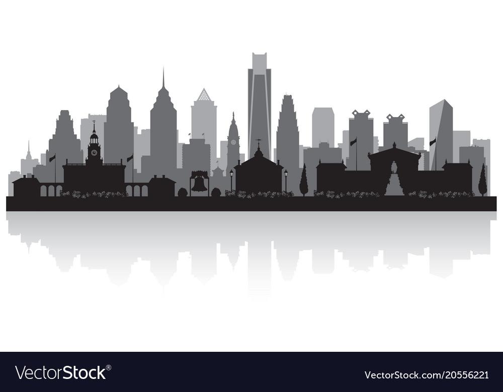 philadelphia pennsylvania city skyline silhouette vector image  vectorstock