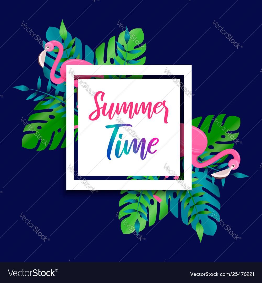 Summer time card flamingo and tropical plants