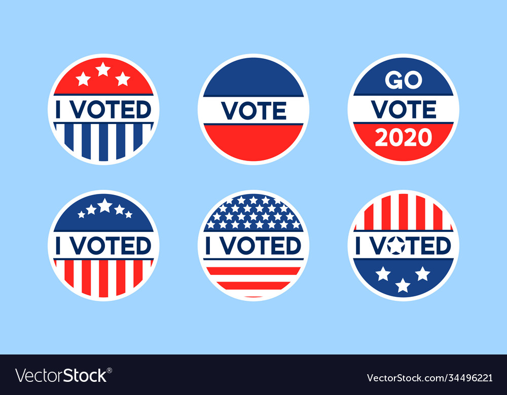 Usa 2020 voting icons set circle flat stickers