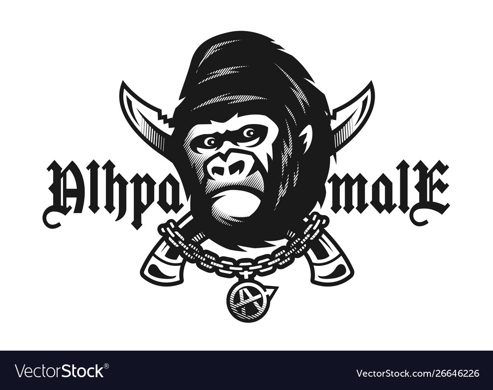 Alpha male angry gorilla and crossed knives