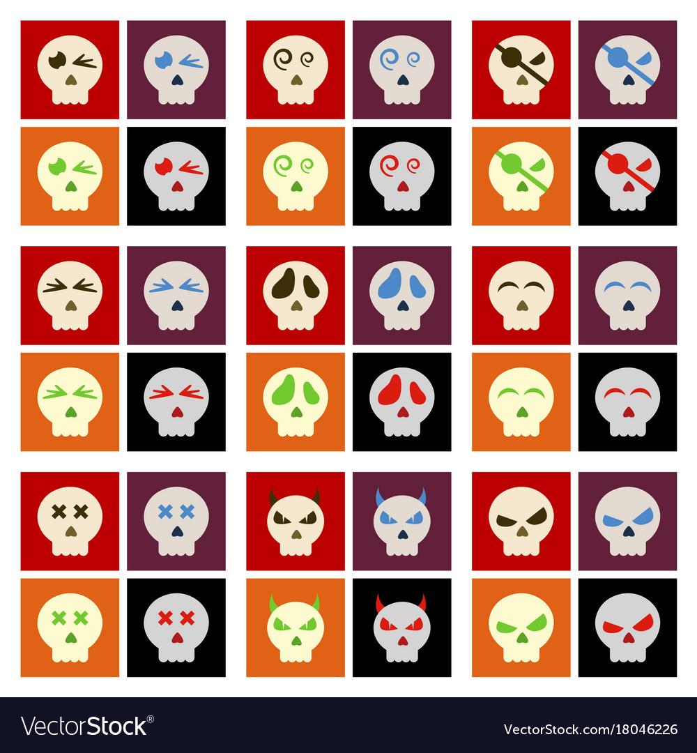 big set of cartoon colored skulls