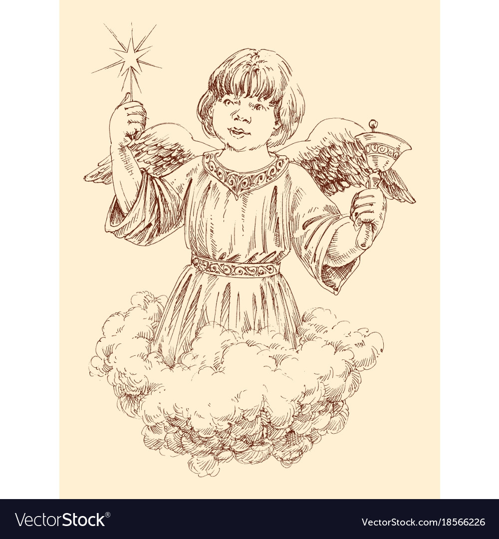 Christmas angel holding a light star and a bell