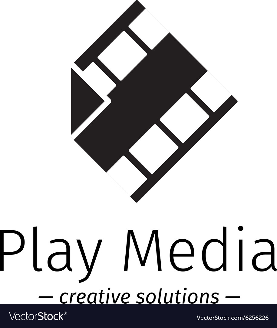 Film logo with play sign Media business