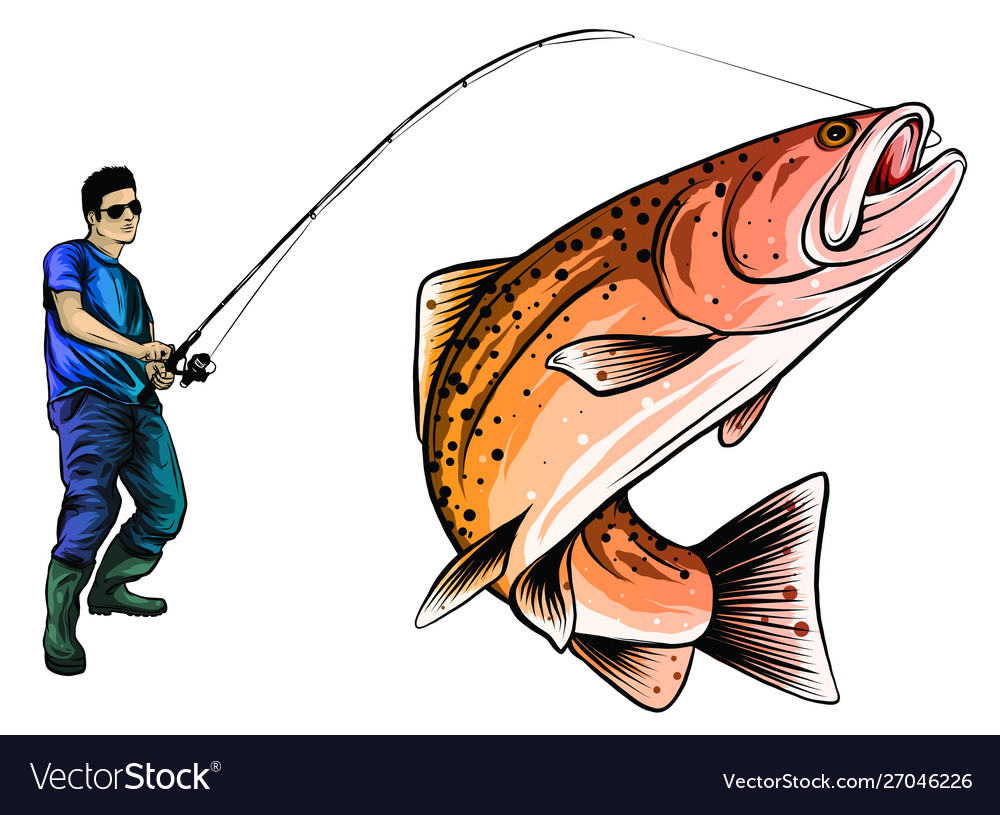 Fishing design for a fisherman catches a